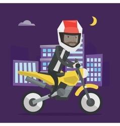 Man riding motorcycle at night vector image vector image