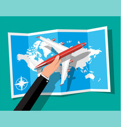 passenger or commercial jet in hand map vector image