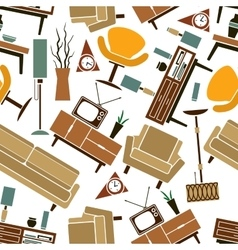 Retro home furnitures seamless pattern background vector image