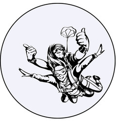 skydiver man and woman vector image