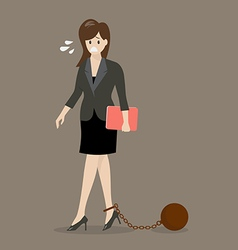 Business woman with weight burden vector image vector image