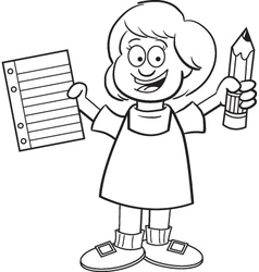 Cartoon Girl Holding a Paper and Pencil vector image vector image