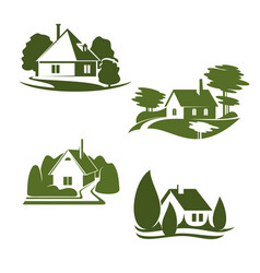 eco green house icon of ecology real estate design vector image
