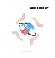 Globe signhuman hand and stethoscope icon with vector