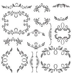 Set of hand drawn frames with vignette branches vector image