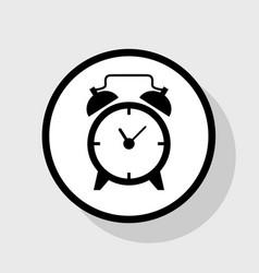 alarm clock sign flat black icon in white vector image