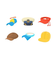 cap icon set cartoon style vector image