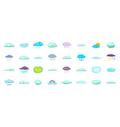 clouds icon set cartoon style vector image vector image