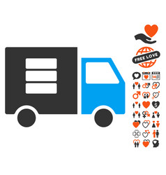 data transfer van icon with dating bonus vector image vector image