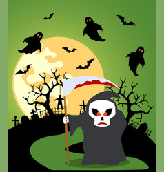 Halloween background with scytheman and full moon vector