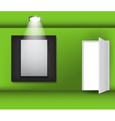 Open white door and white frame in art gallery on vector image vector image