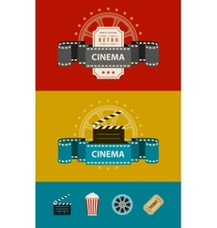 Retro cinematography banners vector image vector image