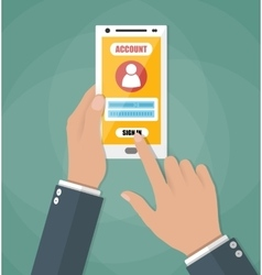 Sign in account on phone vector image vector image