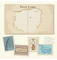vintage postcard and stamps vector image vector image
