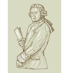 17th century gentleman or aristocrat wearing wig vector image