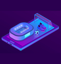 3d isometric smartphone with football vector image