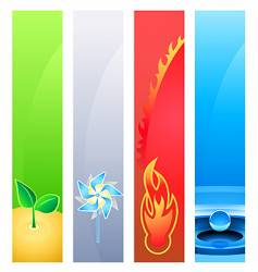 4 nature element banner backgrounds vector