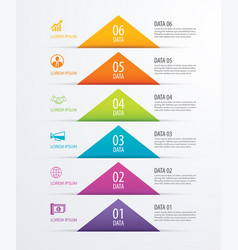 6 triangle timeline infographic options paper vector