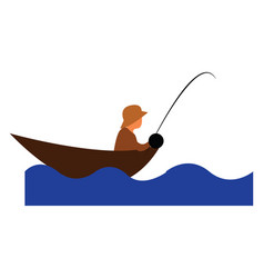 a man fishing in deep water with his gear vector image