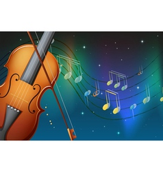 A violin and its bow with musical notes vector image vector image