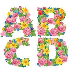 Alphabet flowers abcd vector