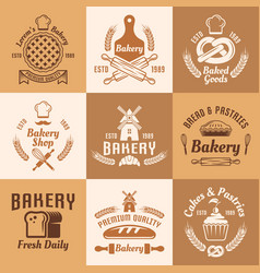 bakery and pastries vintage colored emblems vector image