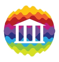Bank Rainbow Color Icon for Mobile Applications vector image