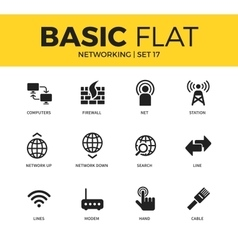 Basic set of Networking icons vector
