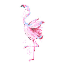 Beautiful male dancing pink flamingo smiling vector