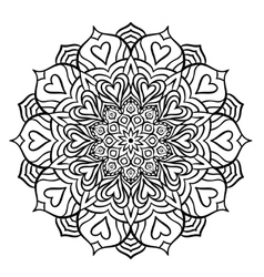 Black Mandala with Hearts vector