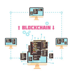 Blockchain technology design concept vector