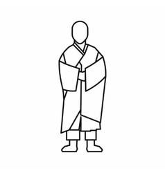 Buddhist monk icon outline style vector