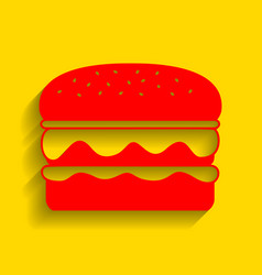 burger simple sign red icon with soft vector image vector image