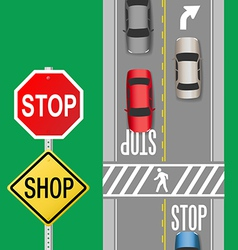 Busy Traffic Cars Stop Sign Street vector