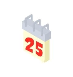 Calendar 25th icon cartoon style vector