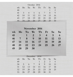 calendar month for 2016 pages November start vector image