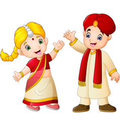 cartoon indian couple wearing traditional costumes vector image