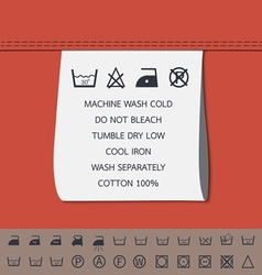 Clothing label and washing symbol vector