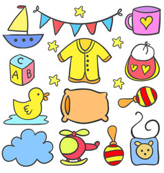 collection of baby style set doodles vector image