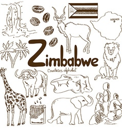 Collection of Zimbabwe icons vector