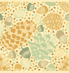 Colorful seamless background with cones and acorns vector