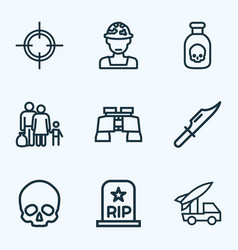 Combat icons line style set with soldier vector