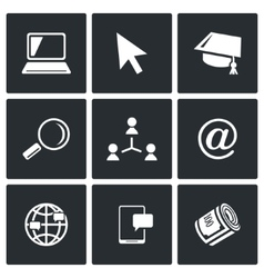 Computer literacy icons set vector