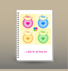 Cover of diary patchwork baby bibs vector