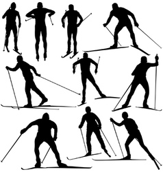 Cross country skier silhouettes vector