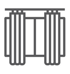 Curtains line icon furniture and home window vector