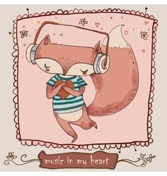 Cute cartoon fox enjoys the music with headphones vector image