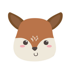 Cute little deer face animal cartoon isolated vector