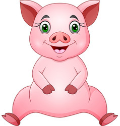cute pig cartoon sitting vector image