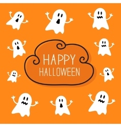 Cute spooky ghosts Happy Halloween card Cloud vector